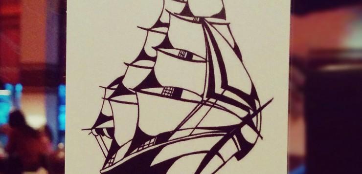 Hamburg Schiff Zeichnung
